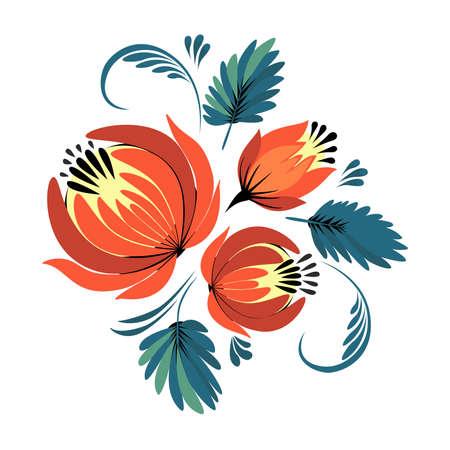 folklore: Vector ornament Russian folklore - Petrikovskaya, ornamental flowers and leaves