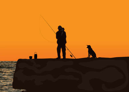 early in the evening: American fishing Illustration