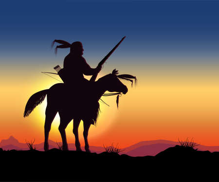 native american indian: night Warriors Illustration
