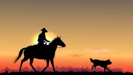 hombre y perro Ilustración de vector