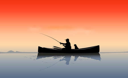 fishermen with dog Vector