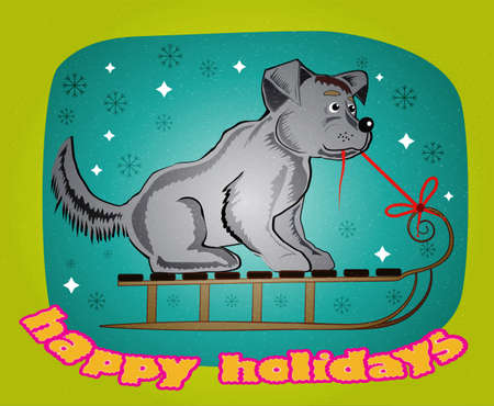 sledge dog: cheerful dog Illustration