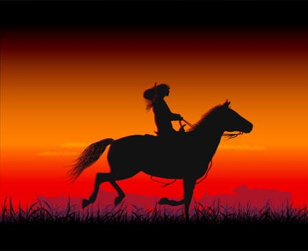 cowboy silhouette: horsewoman Illustration