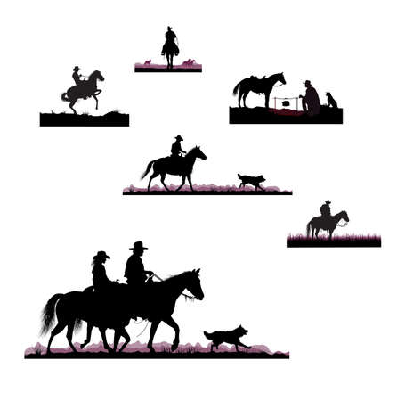 silhouettes of cowboys Vector