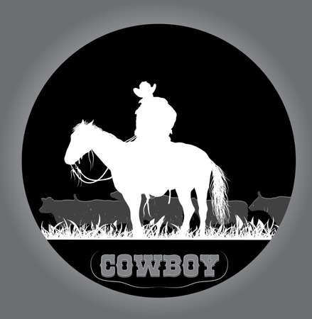 cowboy sticker Vector
