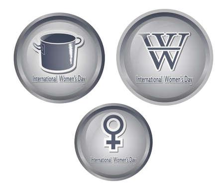 Three International Women button
