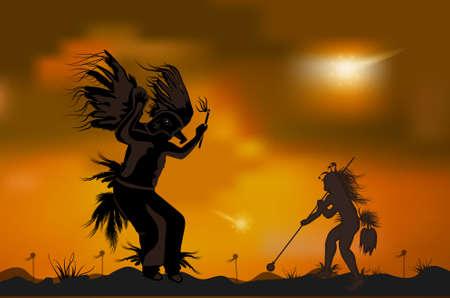 Two dancing shaman