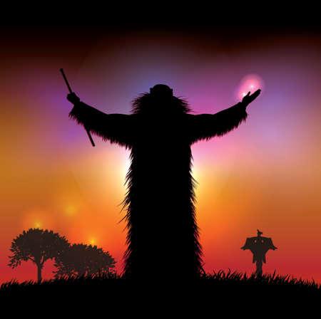 Indian shaman to pray at sunset 일러스트