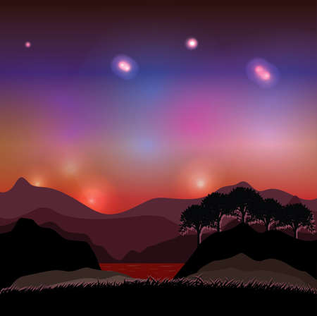 vista: night in the canyon Illustration