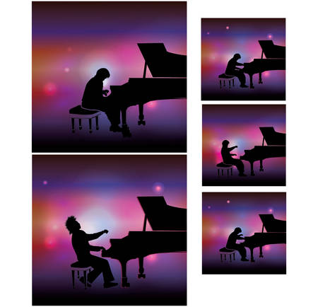 pianist in the light of lanterns plays the piano 일러스트
