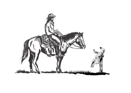 Cowboy on horseback looking at the skull of a bull