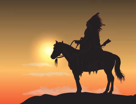 Indian over the precipice 일러스트