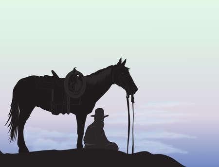 Cowboy on mountain