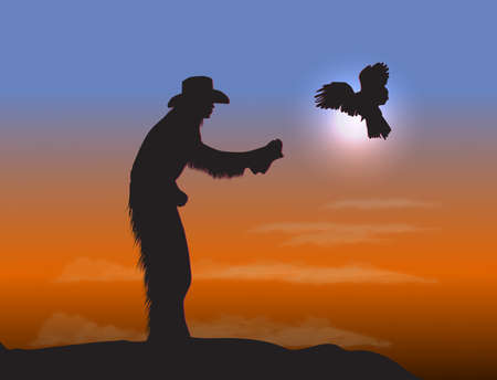 Cowboy with Eagle