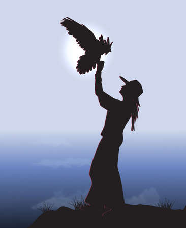 Woman with eagle