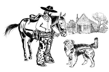 cowboy and his friend 向量圖像