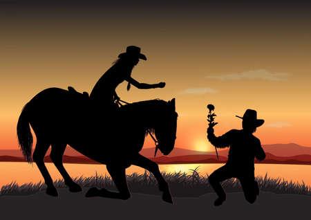man cowboy gives a woman a flower
