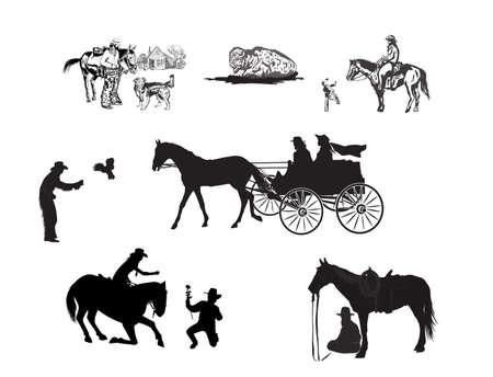Cowboys and horses image illustration