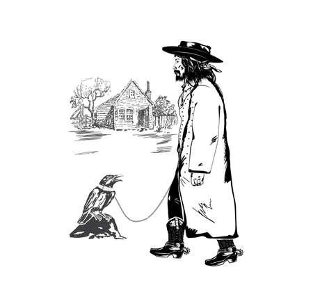 vagabond and crow Vector illustration.