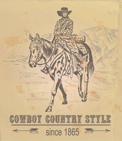 card with a cowboy riding a horse in the mountains