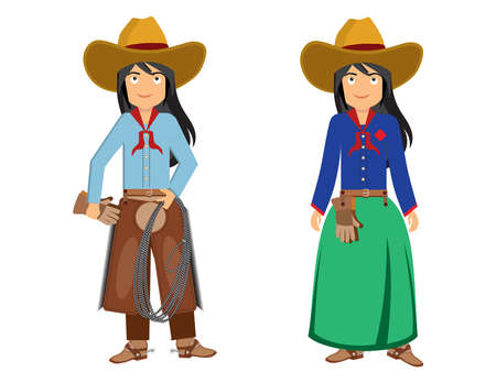 two girls cowboys one in a skirt another in pants 스톡 콘텐츠 - 105287602
