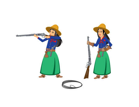 two cowgirls with rifles