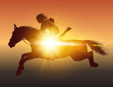 horseman on a horse jumping on it glare of the sun