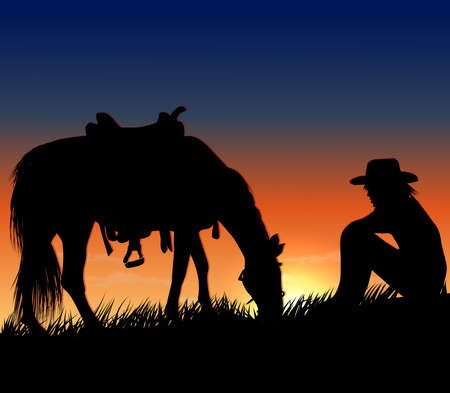 young cowboy guy sitting in the grass opposite the horse Illustration