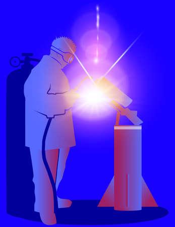 welder welds parts in the rocket stage