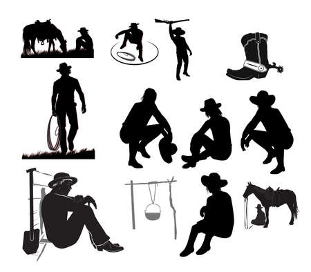 Silhouettes of cowboys on vacation with a lasso and a horse