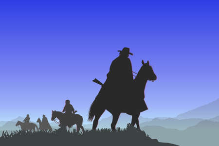 four horsemen on the mountain pass