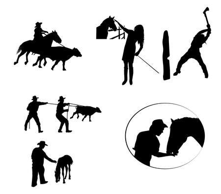 silhouettes of cowboys at work 일러스트