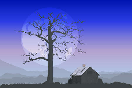 hut next to a tree behind the moon and mountains