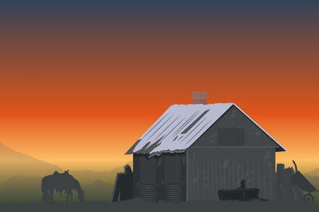 farm in the mountains at sunset 일러스트