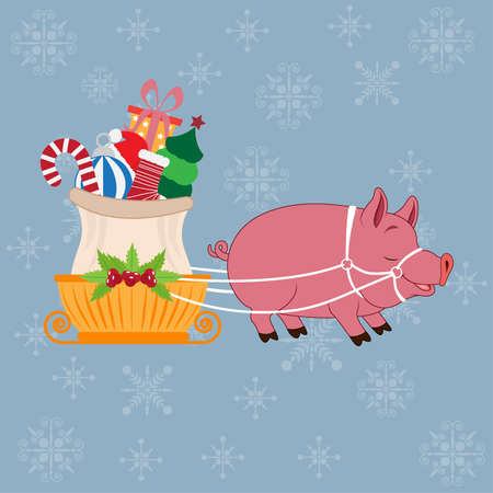 a pig carries sleigh with Christmas gifts 일러스트