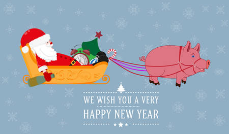Santa Claus sleeps in a sleigh harnessed to a pig Illustration