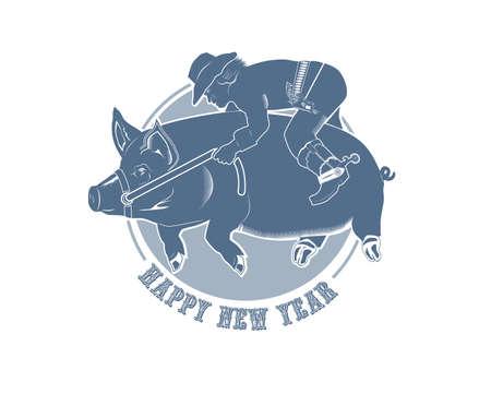 cowboy riding a new year pig