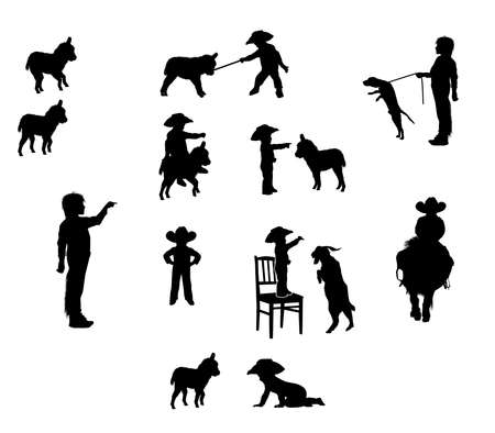 Silhouettes of a little boy in a cowboy hat and pets