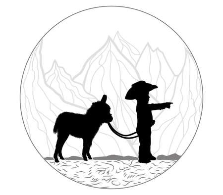 little boy and little donkey are standing in the mountains