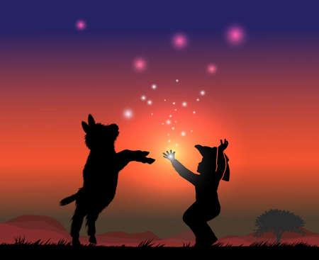 little cowboy boy and little donkey catch magic sky balls