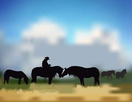 cowboy with four horses on the prairie