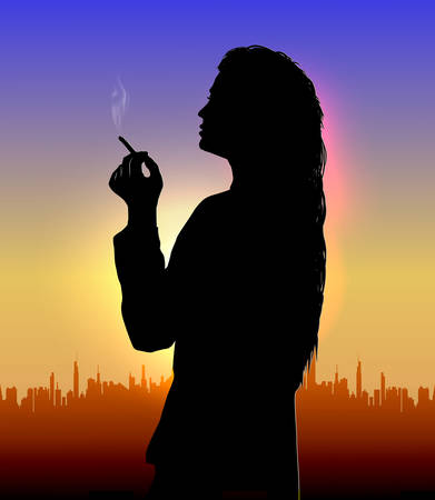 silhouette of a girl who stands against the background of the evening city and smokes