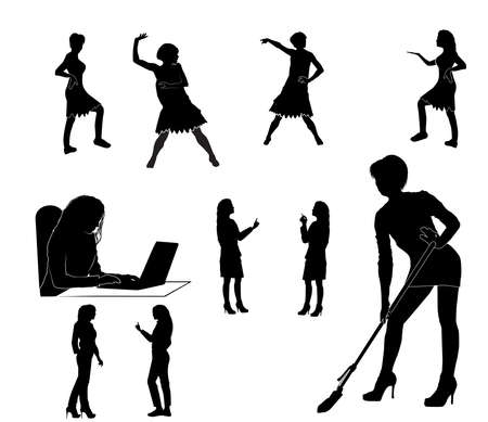 silhouettes of women in different poses 스톡 콘텐츠 - 136125402