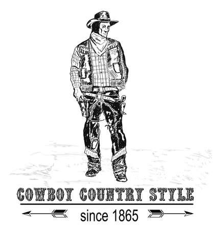 sketch cowboy figure bottom inscription 일러스트