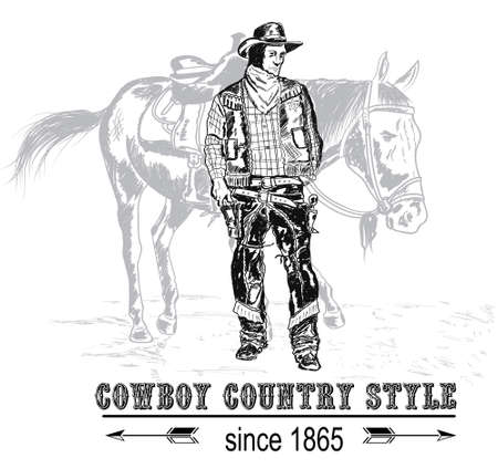 cowboy stands behind a mare
