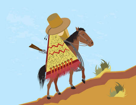 Mexican horseman rides a horse uphill  イラスト・ベクター素材