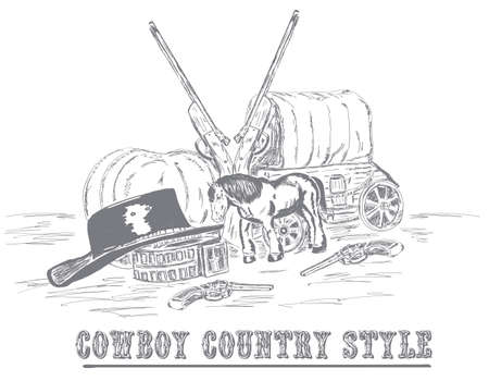 sketch with cowboy items van, horse, hat, two revolvers and two guns 스톡 콘텐츠 - 135107164