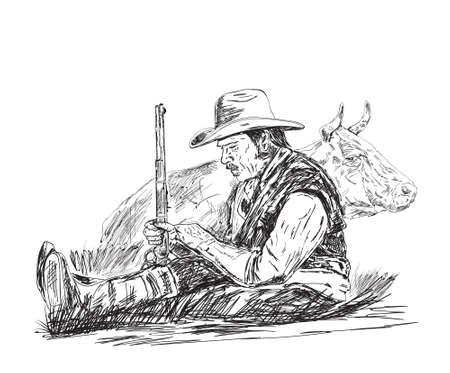 farmer sleeping in his arms shotgun behind cow 일러스트