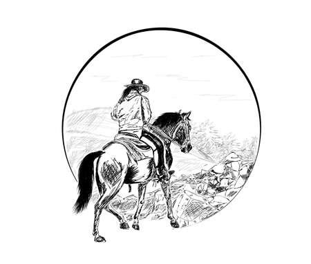 sketch figure cowboy riding a horse drives into the mountains 일러스트