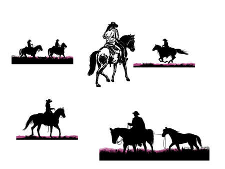 Silhouettes of cowboys on horseback in different poses and angles
